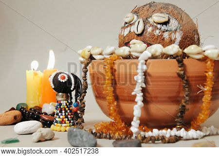 Occult Altar For African Gods. Shamanism, Voodoo Ritual Mode