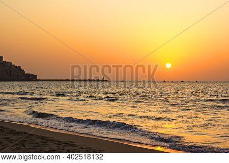 Embankment Tel Aviv. Sunset. Boardwalk Zone. Sea View From The Promenade. Israel, Tel Aviv. Mediterr