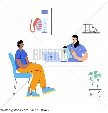 Man In Laboratory Or Medical Office. Patient Visits Clinic, Medical Appointment. Male Egg Cells Coll