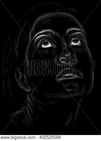 Black And White Stippling Portrait