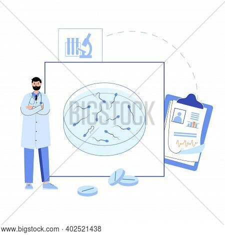 Male Egg Cell Collecting Icon. Fertilisation And Insemination Logo. Semen In Tube, Testicle Anatomy.