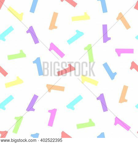 Endless Seamless Pattern Of Numbers 1 (one) On A White Background. Painted In Rainbow And Indigo Col