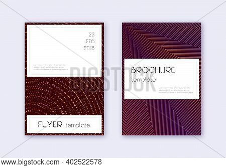 Stylish Cover Design Template Set. Orange Abstract Lines On Wine Red Background. Fetching Cover Desi