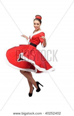 cheerful dancing retro girl