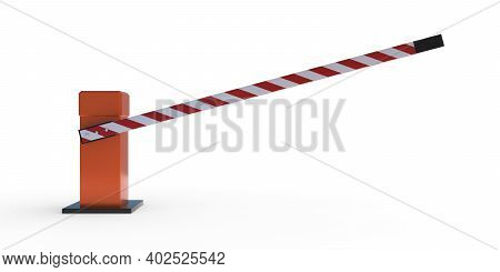 Car Barrier Gate Isolated On White Background, Lifted Open Automatic Boom, Security System Allow Veh