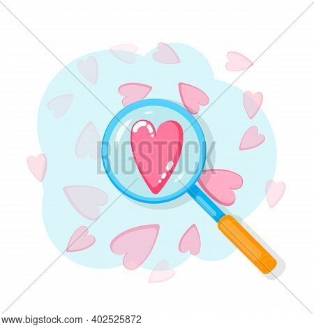 Search Heart And Find Love With Magnifying Glass With Heart Inside. Dating Illustration Of Dating Ap