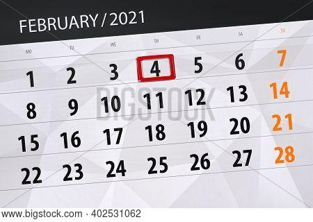 Calendar Planner For The Month February 2021, Deadline Day, 4, Thursday.