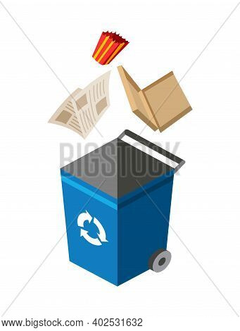 Garbage Can For Sorting. Recycling Elements. Colored Waste Bin With Paper Trash. Separation Of Waste