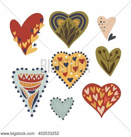 Cartoon Scandinavian Vector Heart Collection. Hand Drawn Valentines, Day Symbol Set With Flower Shap
