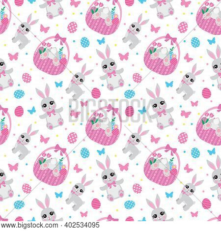 Easter Seamless Pattern With Flowers, Butterflies, Rabbit And Eggs. Spring Cute Repeating Textures.