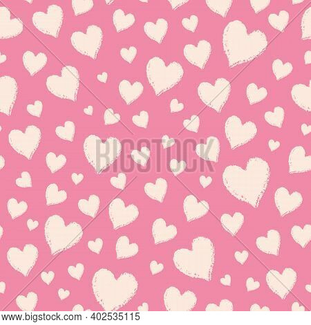 Vector Pink Ecru Charcoal Hearts Seamless Pattern