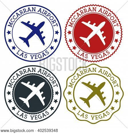 Mccarran Airport Las Vegas. Las Vegas Airport Logo. Flat Stamps In Material Color Palette. Vector Il
