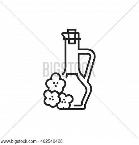 Rape Vegetable Oil Glass Bottle Color Line Icon.