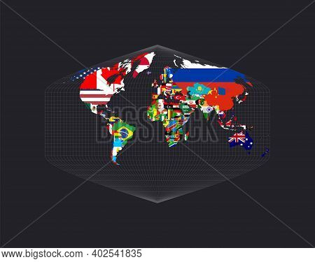 Worldmapwith Flags Of Each Country. Baker Dinomic Projection. Map Of The World With Meridians On Dar