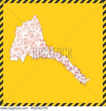 Eritrea Closed - Virus Danger Sign. Lock Down Country Icon. Black Striped Border Around Map With Vir