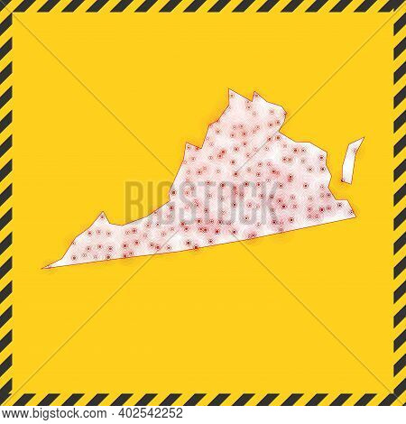 Virginia Closed - Virus Danger Sign. Lock Down Us State Icon. Black Striped Border Around Map With V
