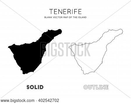 Tenerife Map. Blank Vector Map Of The Island. Borders Of Tenerife For Your Infographic. Vector Illus