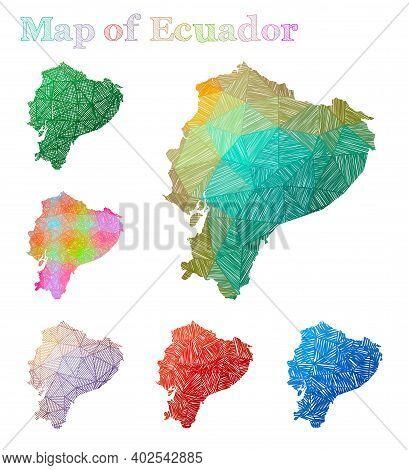 Hand-drawn Map Of Ecuador. Colorful Country Shape. Sketchy Ecuador Maps Collection. Vector Illustrat