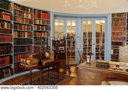 Horovice Castle Interior, Baroque Chateau, Library With Bookshelves, Carved Wooden Furniture And Fir