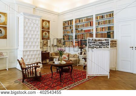 Horovice Castle Interior, Baroque Chateau, Library With Bookshelves, Carved Wooden White Furniture I