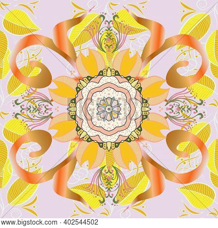 Indian Floral Paisley Medallion Pattern. Can Be Used For Textile, Greeting Card, Coloring Book, Phon