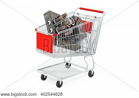 Shopping Cart With Electronic Amplifier. 3d Rendering Isolated On White Background