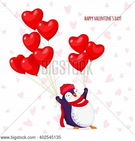 Greeting Card For Valentine Day With A Funny Penguin In A Knitted Hat And Scarf. Cartoon Penguin Wit