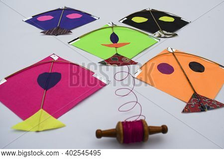 Miniature Tiny Kites With Small Spool Of Thread Rolls, Patang With Firki Manjha For This Uttarayan M
