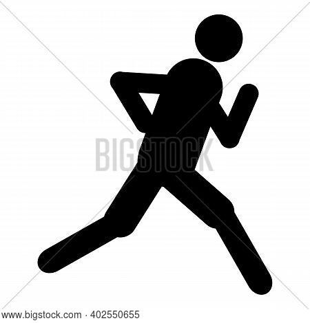 Icon Of Runner. Run Of Man On Track. Silhouette Of Human On Marathon. Fast Run In Sport And Sprint.