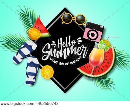 Hello Summer In Black Frame Vector Banner Template. Hello Summer Text With Beach And Tropical Fruits