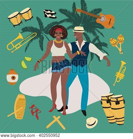 Passionate Couple. Man And Woman Dancing Salsa, Mambo, Reggaeton Or Latin Music With Tropical Backgr