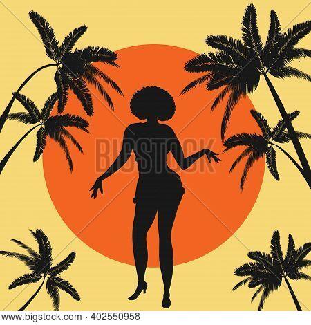 Silhouette Of Carribean, Latin Or African American Woman Dancing Salsa, Bachata, Merengue, Cha-cha,