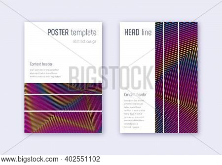 Geometric Cover Design Template Set. Rainbow Abstract Lines On Wine Red Background. Bizarre Cover De