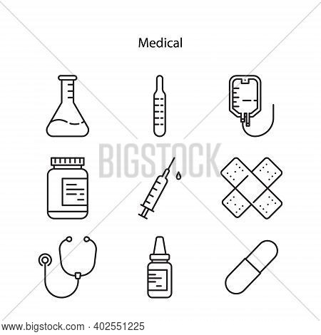 Vector Illustration Set Of Medical Icons. Medical Icon Isolated On White Background From Medical Col