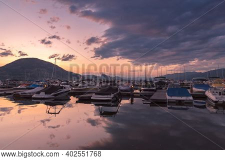 Penticton, British Columbia/canada - July 7, 2020:  Sunset View Of Boats Docked At The Penticton Mar
