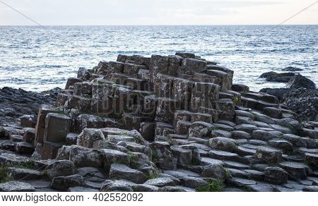 Famous Giant's Causeway Before Sunset In Northern Ireland, Uk.