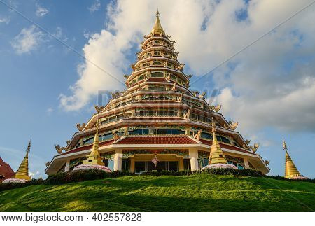 The Traditional 9 Floors Chinese Pagoda Of Wat Huay Pla Kang Temple An Iconic Landmark In Chiang Rai