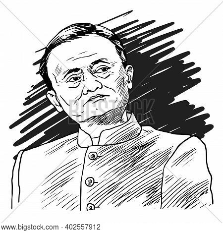 Jack Ma The Chinese Businessman And Ceo Of Alibaba Group Cartoon Caricature Vector Illustration. Bei