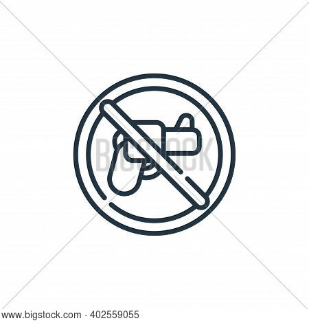 no weapons icon isolated on white background. no weapons icon thin line outline linear no weapons sy