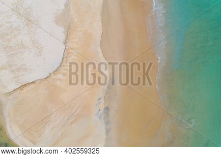 Aerial View Top Down Of Beautiful Sea Summer Or Beach And Tropical Sea Background,soft Turquoise Oce