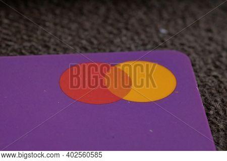Cassilandia, Mato Grosso Do Sul, Brazil - 01 08 2020: Purple Credit Card With Selective Focus On The