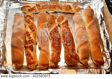 Fresh home made  bread stick top view