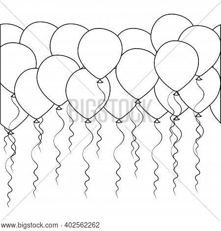 Seamless Border Of Helium Balloons. Birthday Baloons For Party And Celebrations. Isolated On White B