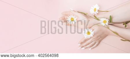 Women Hands With Flowers. Natural Beauty Hand Cosmetics With Flower Extract, Product. Summer Fashion