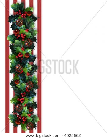Christmas Border Holly  On Red Stripes