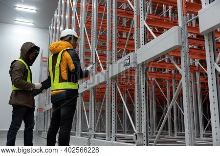 Maintenance Technician Service In Cold Warehouse Storage, Machinery Engineering People Checking Movi