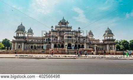 Jaipur, Rajasthan, India - 19 Oct, 2019 - Facade Of Albert Hall Museum Jaipur