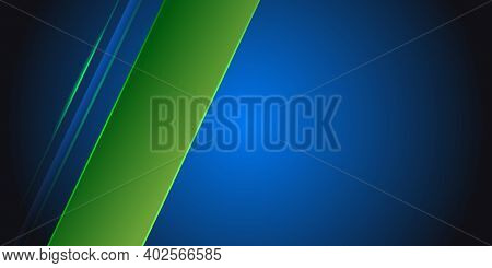 Blue Abstract Background With Green Light Line On Blank Space. Modern Dark Luxury Sport Futuristic T
