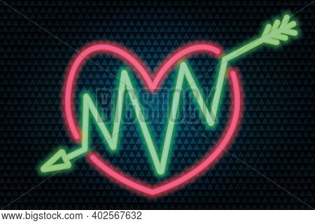An Arrow Pierces The Heart. Neon Glow. Colored Vector Illustration. Isolated Background From Green T