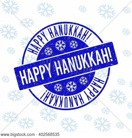 Happy Hanukkah Exclamation. Round Stamp Seal On Winter Background With Snow. Blue Vector Rubber Impr